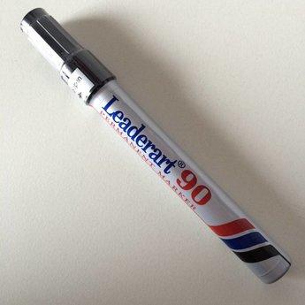 Leaderart Leaderart 90 stift zwart / permanent marker -  beitelpunt -lijnbreedte 1-5mm.  Leaderart 90 permanent marker met schuine punt.