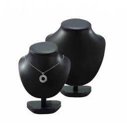 Collierhalsje zwart kunstleer hoog 22cm