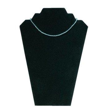 Collierpresentatie zwart fluweel, breedte 22cm, hoogte 32 cm. Voor meerdere kettingen.