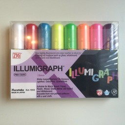 ZIG Illumigraph Krijtstift-set 7-15 mm - 1 wit 7 kleuren