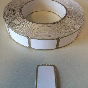 Hangetiket op rol 25x42 mm blanco kaartje bedrukt met GOUDEN rand  1000 per rol, wel ponsgaatje, en geen perforatie in kaartje