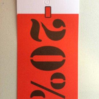 Hangetiket 35x70 mm bedrukking in zwart en rood:  -20%          250st