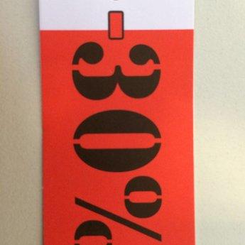 Hangetiket 35x70 mm bedrukking in zwart en rood:  -30%          250st