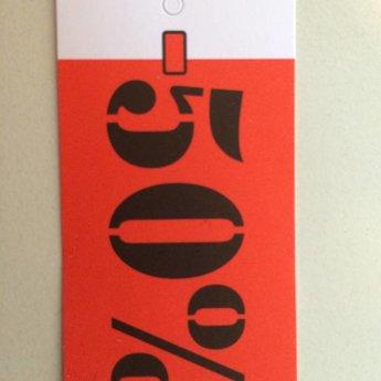 Hangetiket 35x70 mm bedrukking in zwart en rood:  -50%          250st
