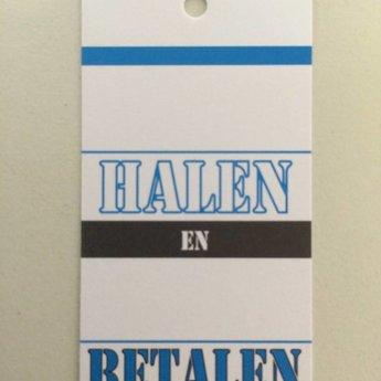 Hangetiket 35x70 mm bedrukking in zwart en blauw:  .. halen  .. betalen 250st