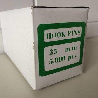 Hookpins textielpins / riddersporen / tagpins  35mm std-haak  5000st - hook-pin hookpin.<br /> Geschikt om te gebruiken in standaard en regular tangen van Arrow, Banok, GP, Utach en Dennison.
