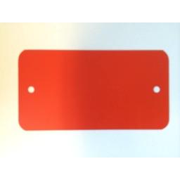 PVC labels 64x118mm rood2xgat ronde hoek