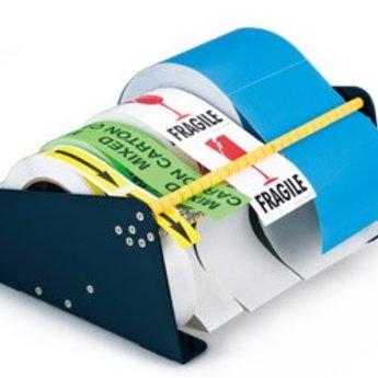 Etikettendispenser tafelmodel  115 mm, 2-vaks. Maximale roldiameter is 17 cm. Maximale rolbreedte 11,5 cm.<br /> Afmetingen :  breedte 120mm x diepte 250mm x hoogte 135mm. Onderzijde voorzien van 4 boorgaten, waardoor de dispenser eventueel vastgezet kan worden