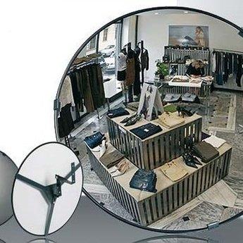 Bewakingsspiegel panoramisch(loopt iets rond) diameter 30 cm van acryl, compleet met ophangbeugel.