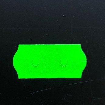 Etiket 26x12 golfrand fluor groen permanent  2-sl  54.000  (=36 rollen a 1500 etiketten), etiketten voorzien van SS-snit of veiligheidssnit of deelbare etiketten. Gommering / kleefkracht 2