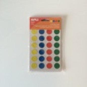 Apli Apli-nr. 12534  mapje gekleurde-etiketten diameter 20 mm - 24 stuks. Van elke kleur 6 etiketten. Kleuren: geel, blauw, rood en groen.