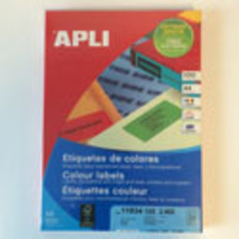 Apli Apli-nr. 11834  Laser/inkjet/kopieer-etiketten op A4 vellen, kleur GEEL etiketafmeting 70x37mm  100 vel