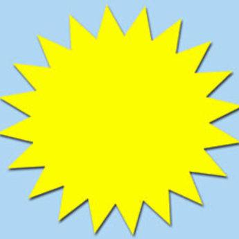 Fluor kartonnen ster 15 cm, kleur fluor geel, pak