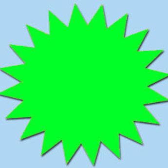 Fluor kartonnen ster 15 cm, kleur fluor groen, pak