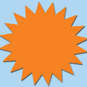 Fluor kartonnen ster 15 cm, kleur fluor oranje, pak