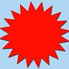 Fluor ster 15 cm fluor rood  50 stuks