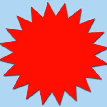 Fluor kartonnen ster 10 cm, kleur fluor rood, pak