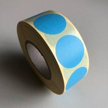 Etiket 35 mm rond blauw kleefkracht permanent, aantal etiketten 1000 stuks op rol.