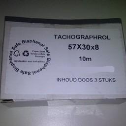 Tachograafrollen 57x30x8 wit 3 stuks
