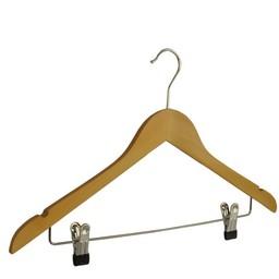 Houten hanger 43cm + 2 metalen knijpers