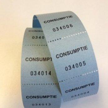 Consumptiebonnen op rol blauw 500/rol, onderling van een perforatie gescheiden. Prijs per rolletje van 500 bonnen. Voorzien van nummering, cijferhoogte 3mm bij 6 posities. Afmeting van de consumptiebon is 30x30mm.