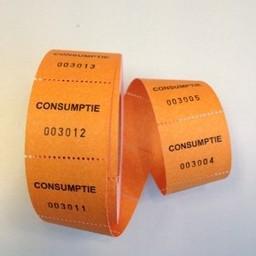 Consumptiebonnen op rol oranje 500/rol