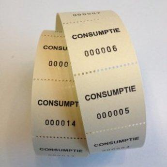 Consumptiebonnen op rol geel 500/rol, onderling van een perforatie gescheiden.