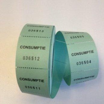 Consumptiebonnen op rol groen 500/rol, onderling van een perforatie gescheiden.