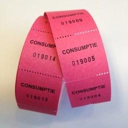 Consumptiebonnen op rol rose/rood 500rol