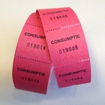 Consumptiebonnen op rol rose/rood 500/rol, onderling van een perforatie gescheiden.