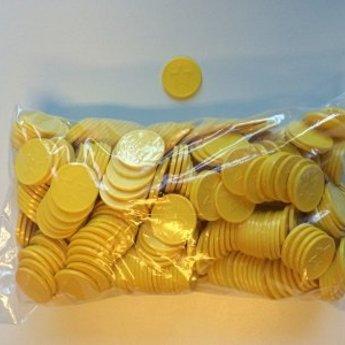 Betaalmunten / consumptiemunten geel met ster in reli