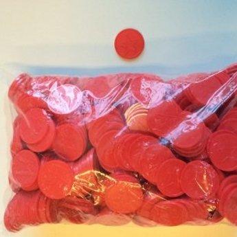 Betaalmunten / consumptiemunten rood met ster in reli