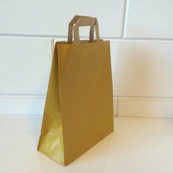 Draagtassen kraft geel, gelijnd papier afmeting breed 22cm x hoog 28cm, inslag 2x 5,5cm. 22/11x28  - 250 stuks - 80 grams