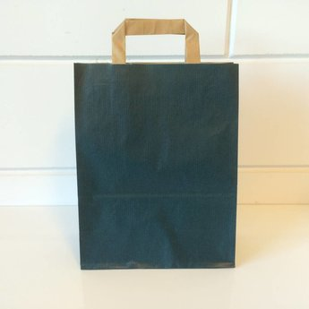 Draagtassen kraft blauw, gelijnd papier afmeting breed 22cm x hoog 28cm, inslag 2x 5,5cm. 22/11x28  - 250 stuks - 80 grams