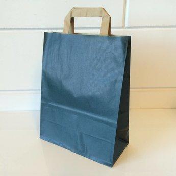 Draagtassen kraft blauw, gelijnd papier afmeting breed 22cm x hoog 36cm, inslag 2x 5,5cm. 22x11x36  - 250  stuks - 80 grams