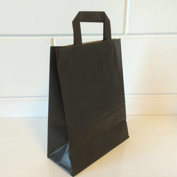 Draagtassen kraft zwart, gelijnd papier afmeting breed 22cm x hoog 36cm, inslag 2x 5,5cm.  22x10x36 - 250  stuks - 80 grams