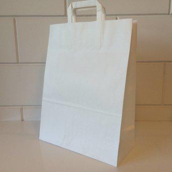 Draagtassen wit kraft, gelijnd papier afmeting breed 32cm x hoog 43cm, inslag 2x 7,5cm. 32/15x43  - 250  stuks - 80 grams