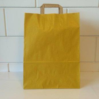 Draagtassen kraft geel, gelijnd papier afmeting breed 32cm x hoog 43cm, inslag 2x 7,5cm. 32/17x43 - 250  stuks - 90 grams
