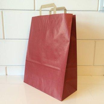 Draagtassen kraft rood, gelijnd papier afmeting breed 32cm x hoog 43cm, inslag 2x 7,5cm. 32/15x43   - 250  stuks - 90 grams