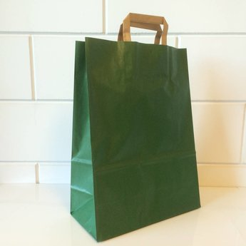 Draagtassen kraft groen, gelijnd papier afmeting breed 32cm x hoog 43cm, inslag 2x 7,5cm. 32/15x43  - 250  stuks - 90 grams