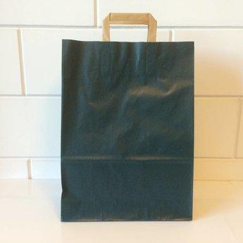 Draagtassen kraft blauw, gelijnd papier afmeting breed 32cm x hoog 43cm, inslag 2x 7,5cm.  32/15x43  - 250  stuks - 90 grams
