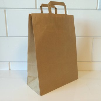 Draagtassen bruin kraft, gelijnd papier afmeting breed 45cm x hoog 47cm, inslag 2x 8,5cm.  45/17x47cm   - 150  stuks - 100 grams