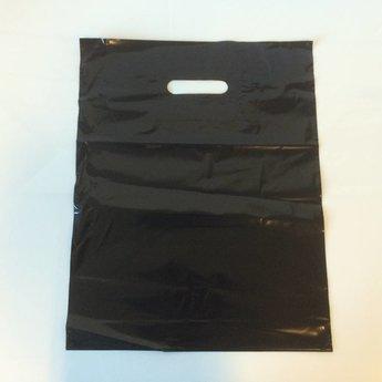 Draagtassen zwart 35x44 -  inslag 2x4 cm dikte 50 micron plastic 500st