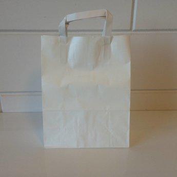 Draagtassen kraft wit, gelijnd papier afmeting breed 22cm x hoog 28cm, inslag 2x 5,5cm. 22/11x28  - 250 stuks - 80 grams