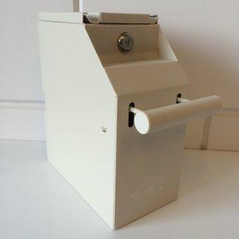 De cash-box of afroombox voor het veilig opbergen van papiergeld en cheques bij de kassa, kleur GRIJS - 2-delig met 2 verschillende sleutels, 1 sleutel voor open van de cashbox en 1 sleutel voor het uit de beugel halen van de cash-box - afmeting  bxhxd  1
