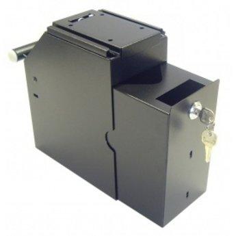 De cash-box of afroombox zwart voor het veilig opbergen van papiergeld en cheques bij de kassa, kleur GRIJS - 2-delig met 2 verschillende sleutels, 1 sleutel voor open van de cashbox en 1 sleutel voor het uit de beugel halen van de cash-box - afmeting  bx