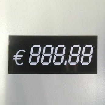 Digitaal kaartje afmeting 60mm x 26mm. €888.88  Verpakt per 10 stuks. Deze kaartjes zijn van wit PVC met zwarte bedrukking. Kan ingekleurd worden met zwarte whiteboard marker. Dit kan achter een scannerprofiel geschoven worden, of in een kaartstandaardje,