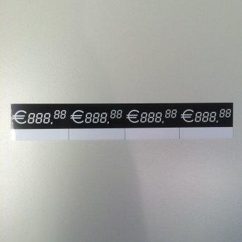 Digitaal kaartje afmeting 45mm x 30mm. Verpakt per 20 stuks. (5 x 4 stuk).  Deze kaartjes zijn van wit PVC met zwarte bedrukking. Kan ingekleurd worden met zwarte whiteboard marker. Dit kan achter een scannerprofiel geschoven worden, of in een kaartstanda