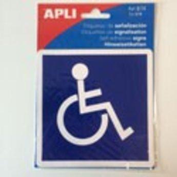 Apli APLI Signs - Nr. 00839 - Disabled / Handicapped - afmeting114x114mm zelfklevend