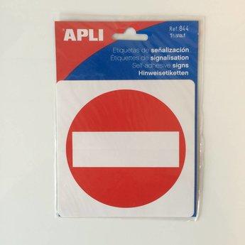Apli APLI Signs - No Entry - Nr. 00844 - No Entry - afmeting 114x114mm zelfklevend